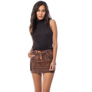 COFFEE COLOR GRUNGE MINI SKIRT